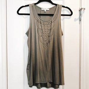 Rose+Olive green tank top with gold embellishments
